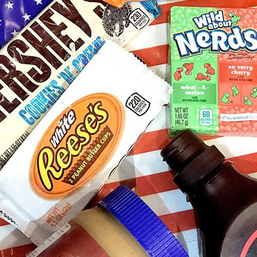 chocolatinas, siropes y caramelos americanos